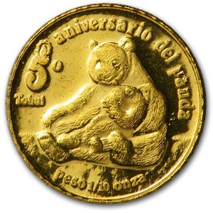 1987 Mexico 1/10 oz Gold North American Panda 5th Birthday Proof
