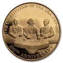 1987 Mexico 1/4 oz Proof Gold 200th Anniv Constitution of the US