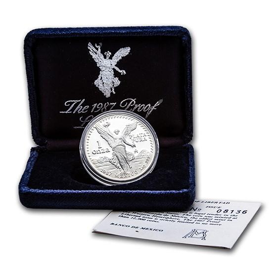 1987 Mexico 1 oz Silver Libertad Proof (w/Box & COA)