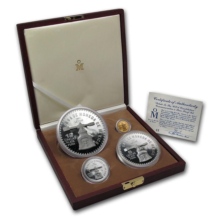 1987 Mexico 4-Coin Gold & Silver U.S. Constitution Commem Prf Set