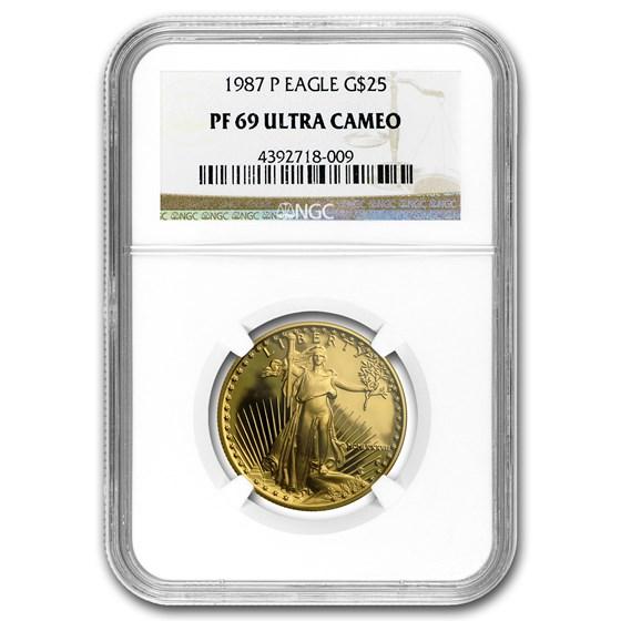 1987-P 1/2 oz Proof American Gold Eagle PF-69 UCAM NGC