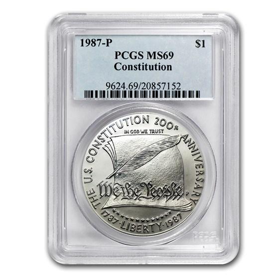1987-P Constitution $1 Silver Commem MS-69 PCGS