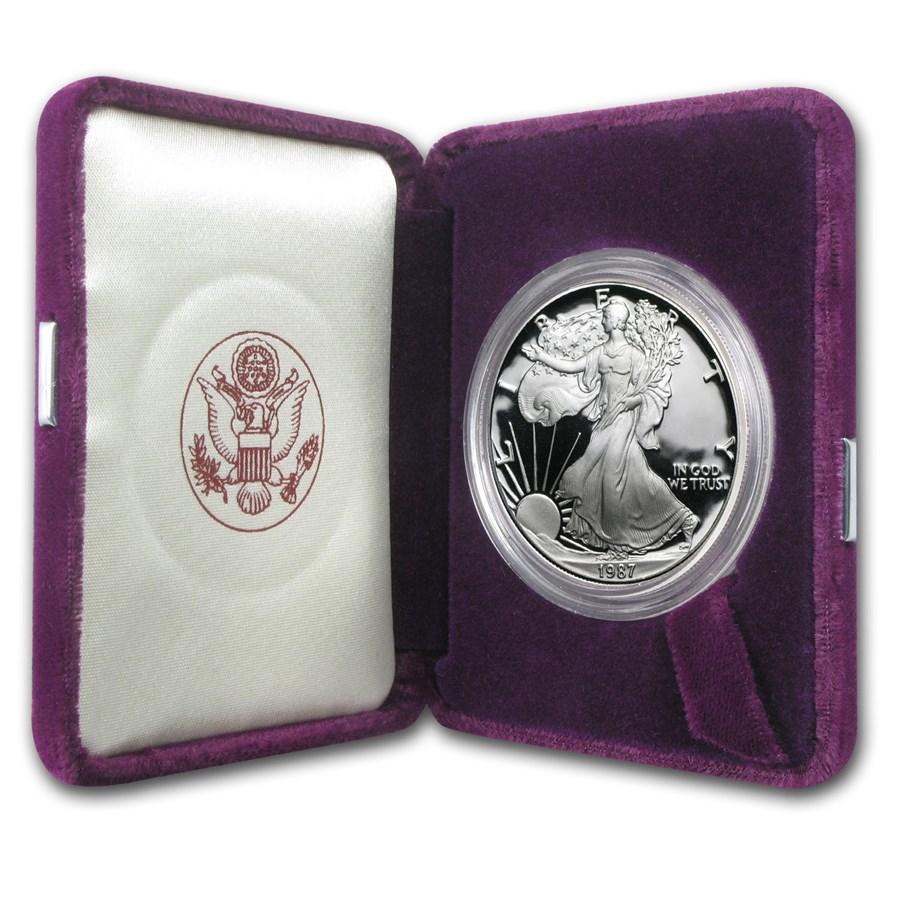 1987-S 1 oz Proof American Silver Eagle (w/Box & COA)