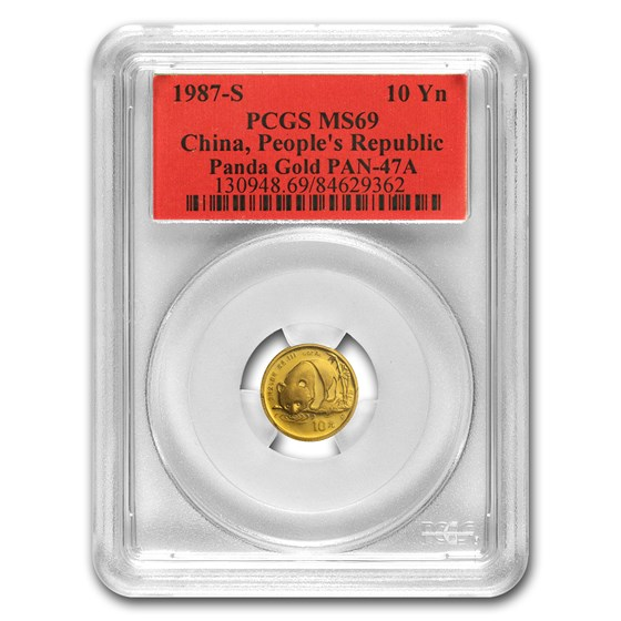 1987-S China 1/10 oz Gold Panda MS-69 PCGS