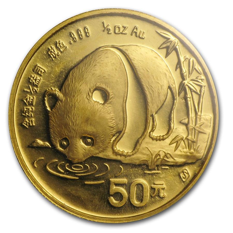 1987-S China 1/2 oz Gold Panda BU (Sealed)