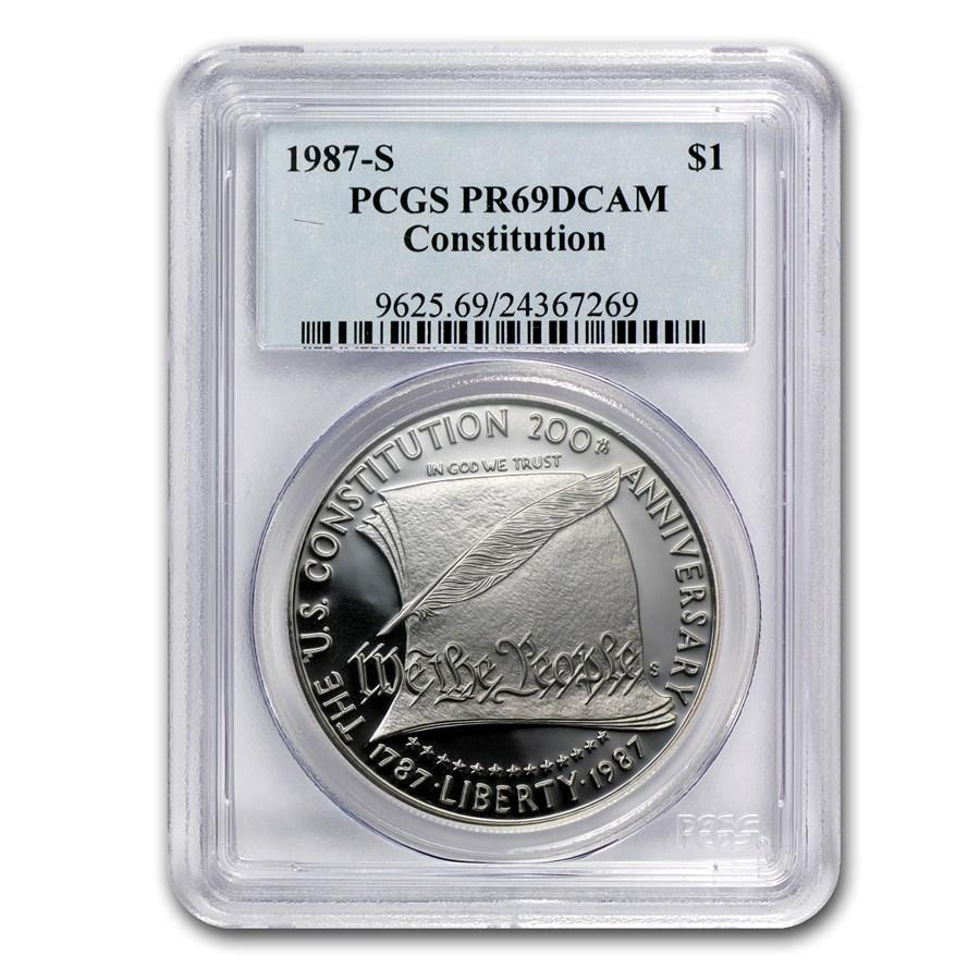 1987-S Constitution $1 Silver Commem PR-69 PCGS