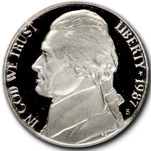1987-S Jefferson Nickel Gem Proof