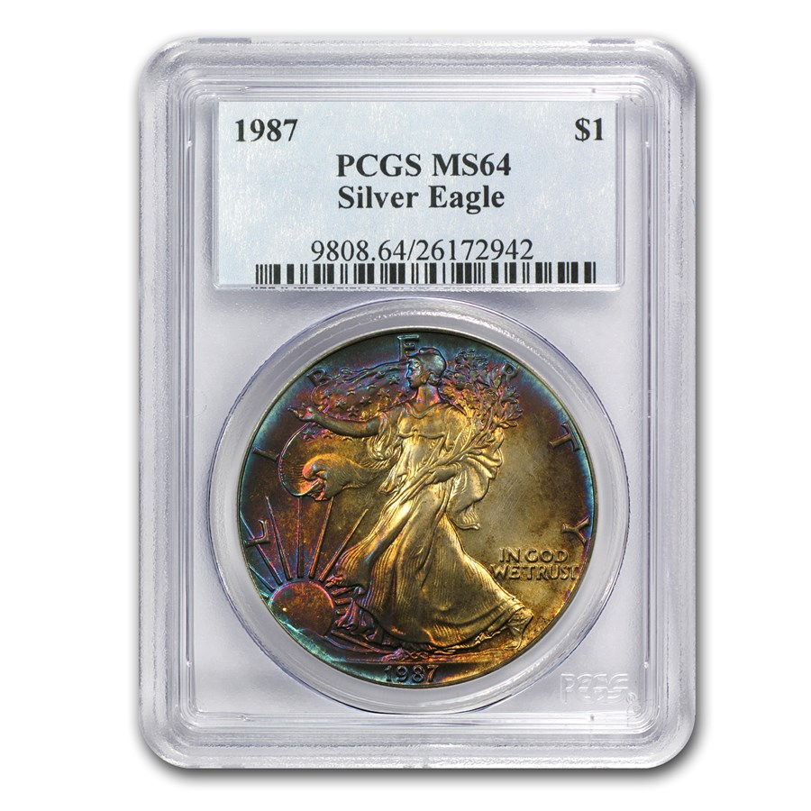 1987 Silver American Eagle MS-64 PCGS (Electric Blue Toning)