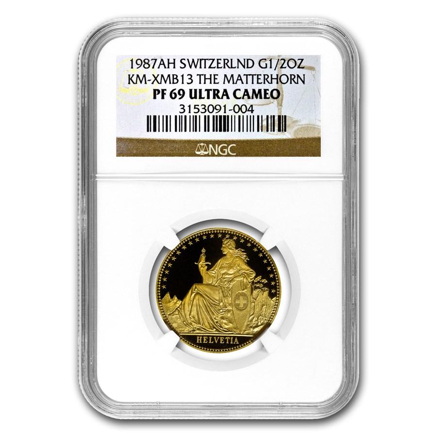 1987 Switzerland 1/2 Unze Gold PF-69 NGC