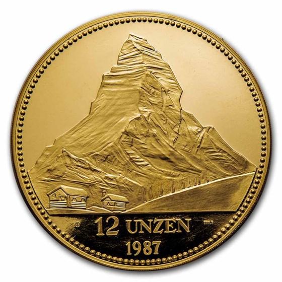 1987 Switzerland 12 Unzen Gold Proof Helvetia
