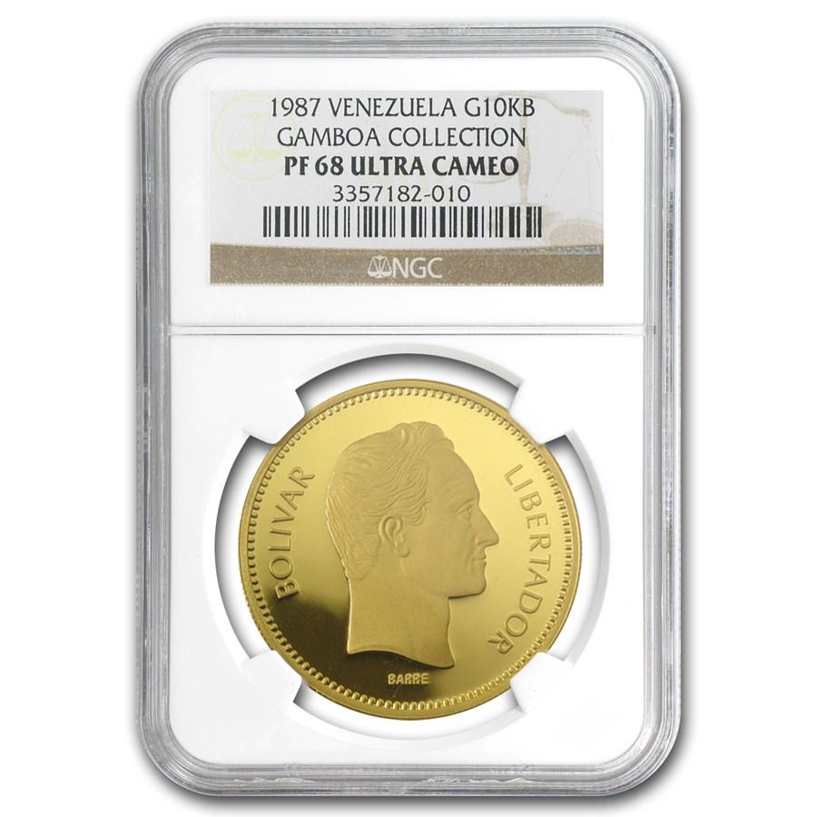 1987 Venezuela Proof Gold 10000 Bolivares PF-68 NGC