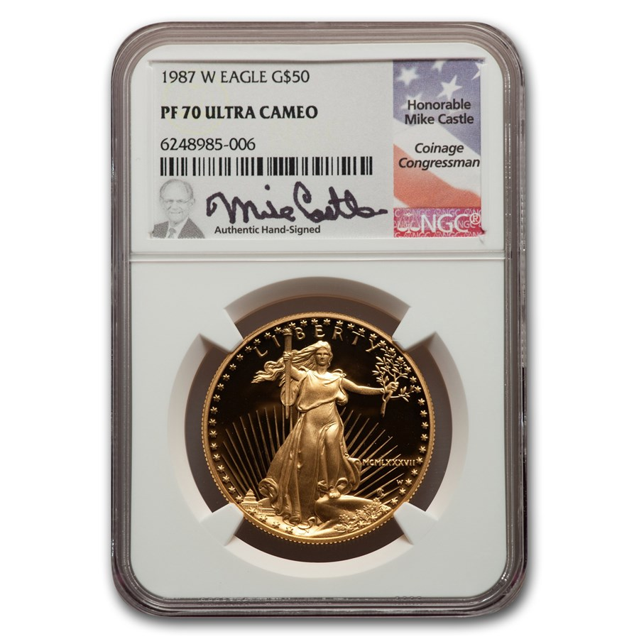 1987-W 1 oz Proof American Gold Eagle PF-70 NGC (Castle Label)