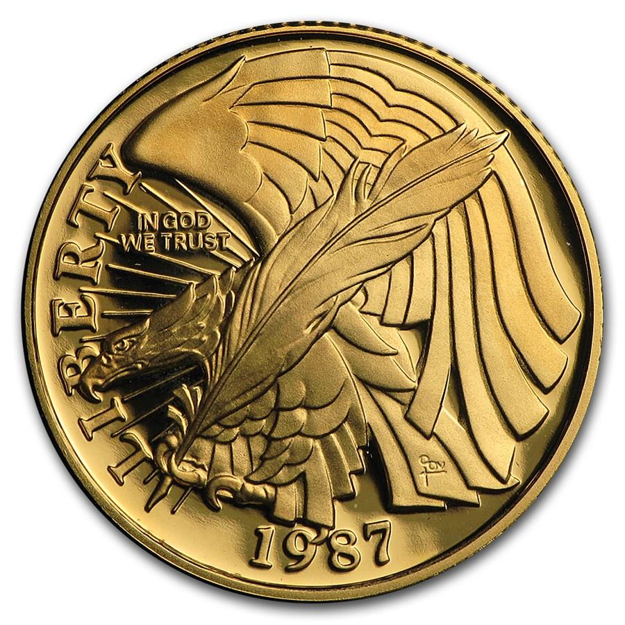 1987-W Gold $5 Commem Constitution BU (w/Box & COA)
