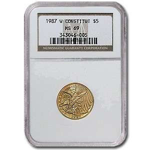 1987-W Gold $5 Commem Constitution MS-69 NGC