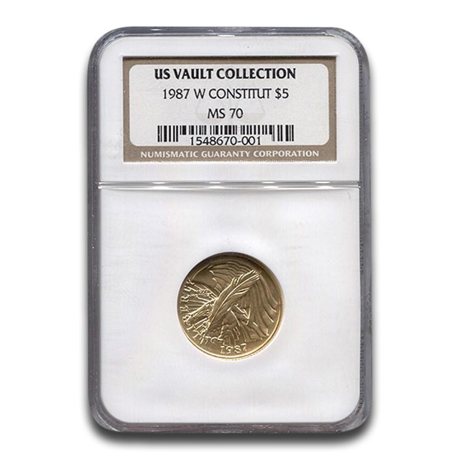 1987-W Gold $5 Commem Constitution MS-70 NGC (US Vault)