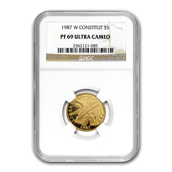 1987-W Gold $5 Commem Constitution PF-69 NGC