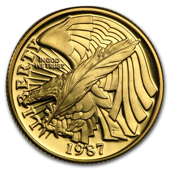 1987-W Gold $5 Commem Constitution Proof (Capsule only)