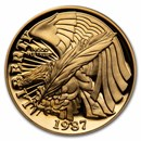 1987-W Gold $5 Commem Constitution Proof (w/Box & CoA)