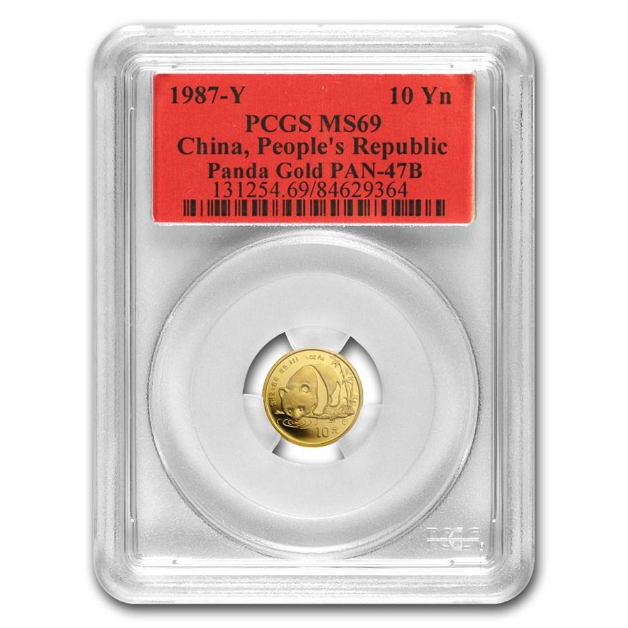 1987-Y China 1/10 oz Gold Panda MS-69 PCGS