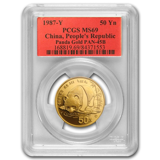 1987-Y China 1/2 oz Gold Panda MS-69 PCGS