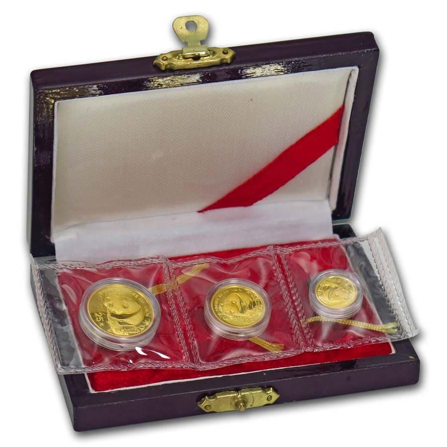 1987-Y China 3-Coin Gold Panda Prestige Set (w/Box & COA)