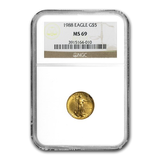 1988 1/10 oz American Gold Eagle MS-69 NGC