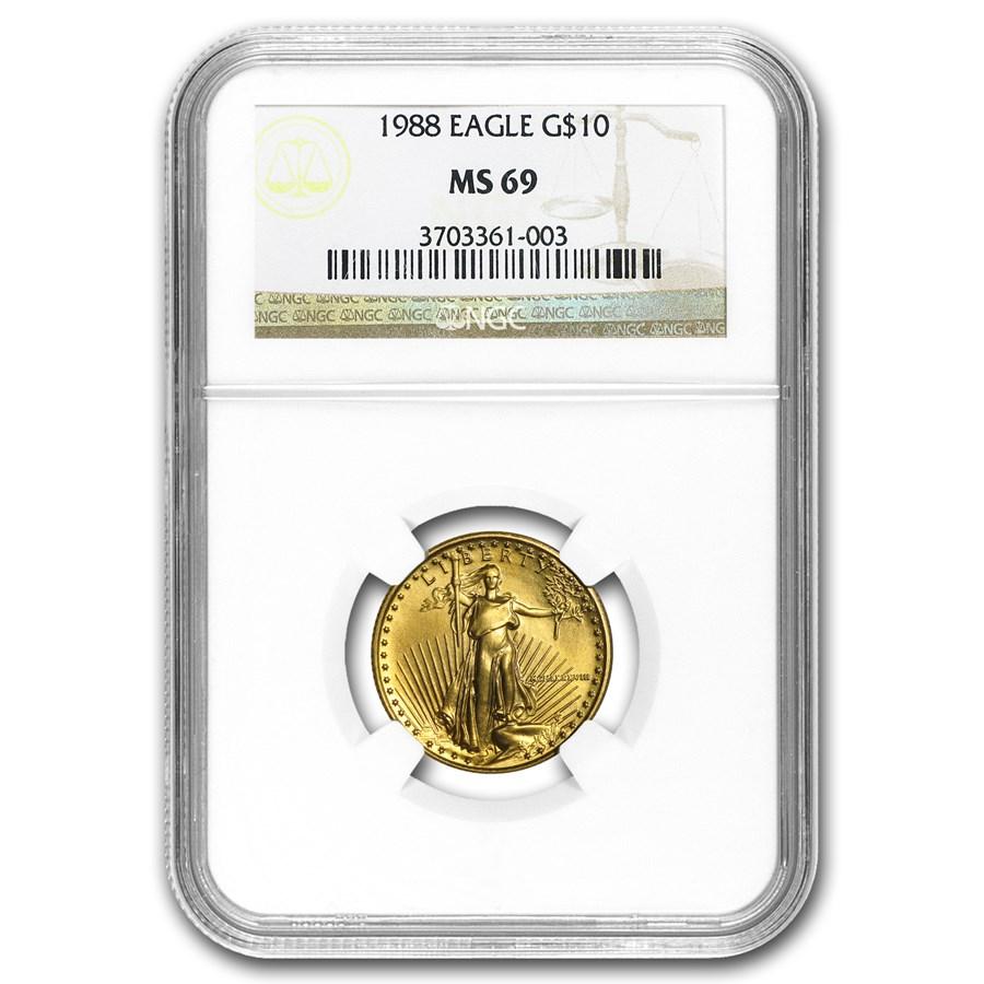 1988 1/4 oz American Gold Eagle MS-69 NGC
