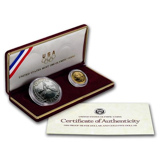 1988 2-Coin Commem Olympic Proof Set (w/Box & COA)