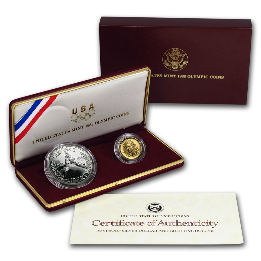 1988 2-Coin Commem Olympic Set BU (w/Box & COA)