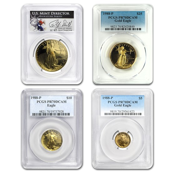1988 4-Coin Proof American Gold Eagle Set PR-70 PCGS