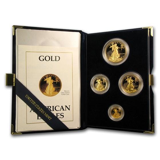 1988 4-Coin Proof American Gold Eagle Set (w/Box & COA)