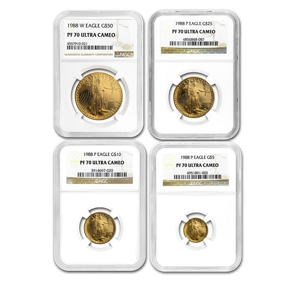 1988 4-Coin Proof Gold American Eagle Set PF-70 NGC