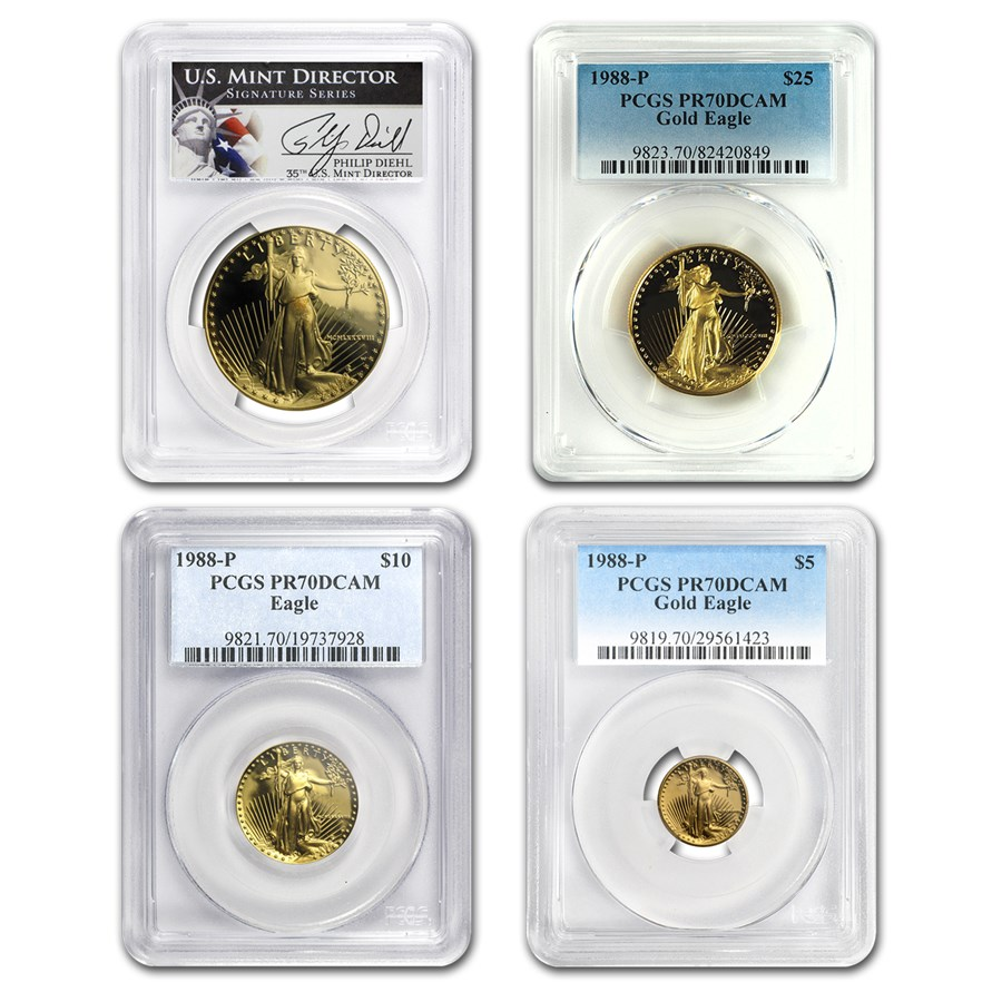 1988 4-Coin Proof Gold American Eagle Set PR-70 PCGS