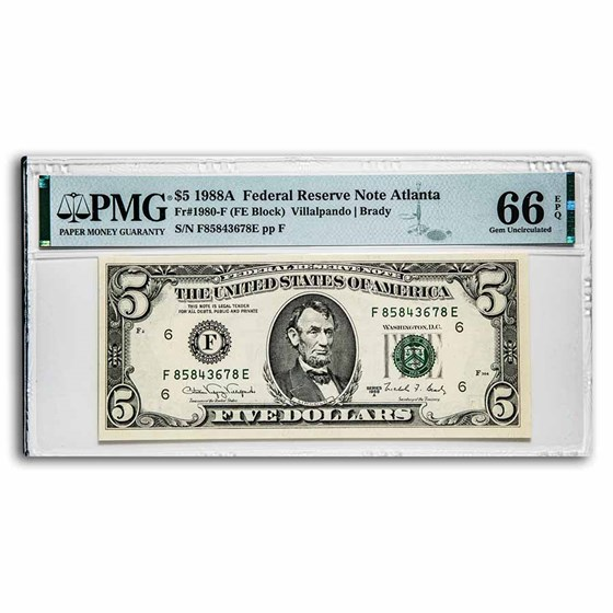 1988-A (F-Atlanta) $5.00 FRN Gem CU-66 EPQ PMG (Fr#1980-F)