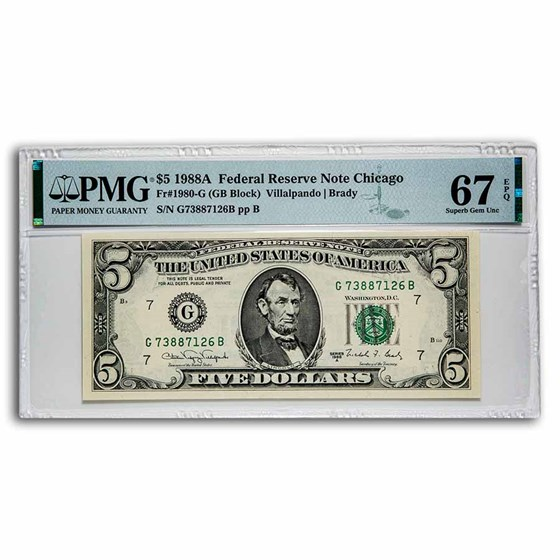 1988-A (G-Chicago) $5.00 FRN Superb Gem CU-67 EPQ PMG (Fr#1980-G)