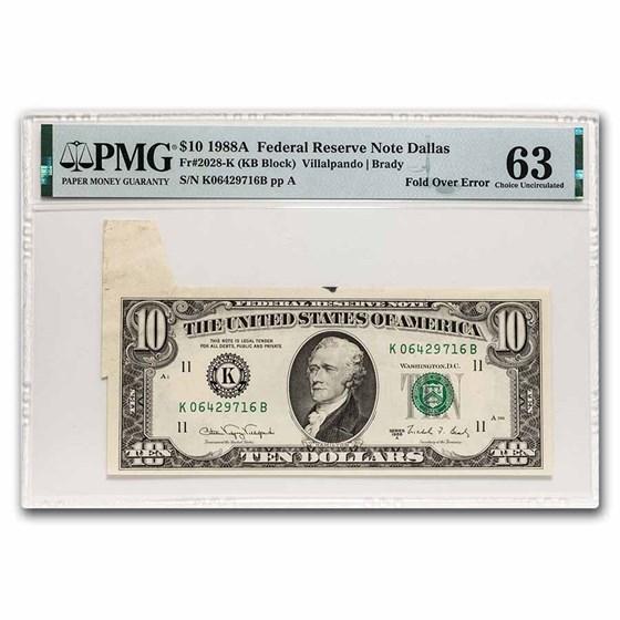 1988-A (K-Dallas) $10 FRN CU-63 PMG (Fr#2028-K) Fold Over