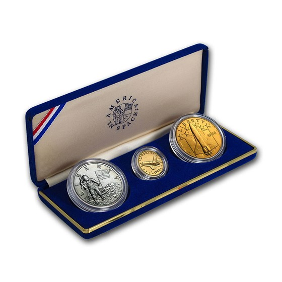 1988 America In Space 3-Medal Set (Gold, Silver & Bronze)