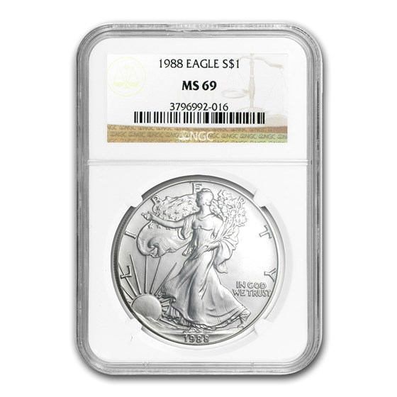 1988 American Silver Eagle MS-69 NGC
