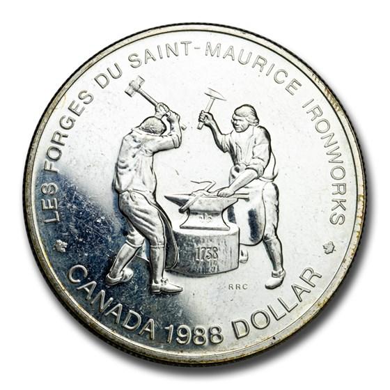 1988 Canada Silver Dollar BU (Saint-Maurice Ironworks)