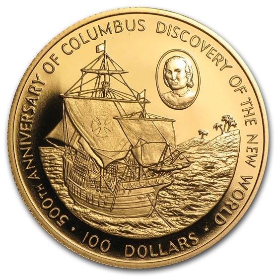 1988 Cayman Islands Proof Gold 100 Dollars Columbus