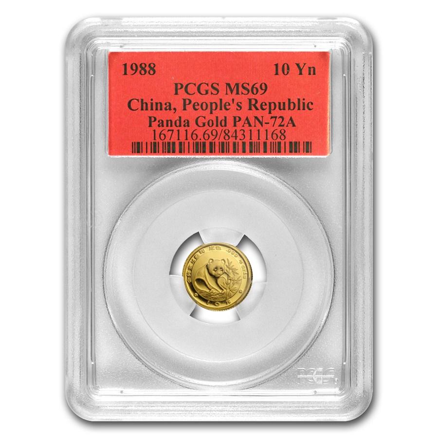 1988 China 1/10 oz Gold Panda MS-69 PCGS