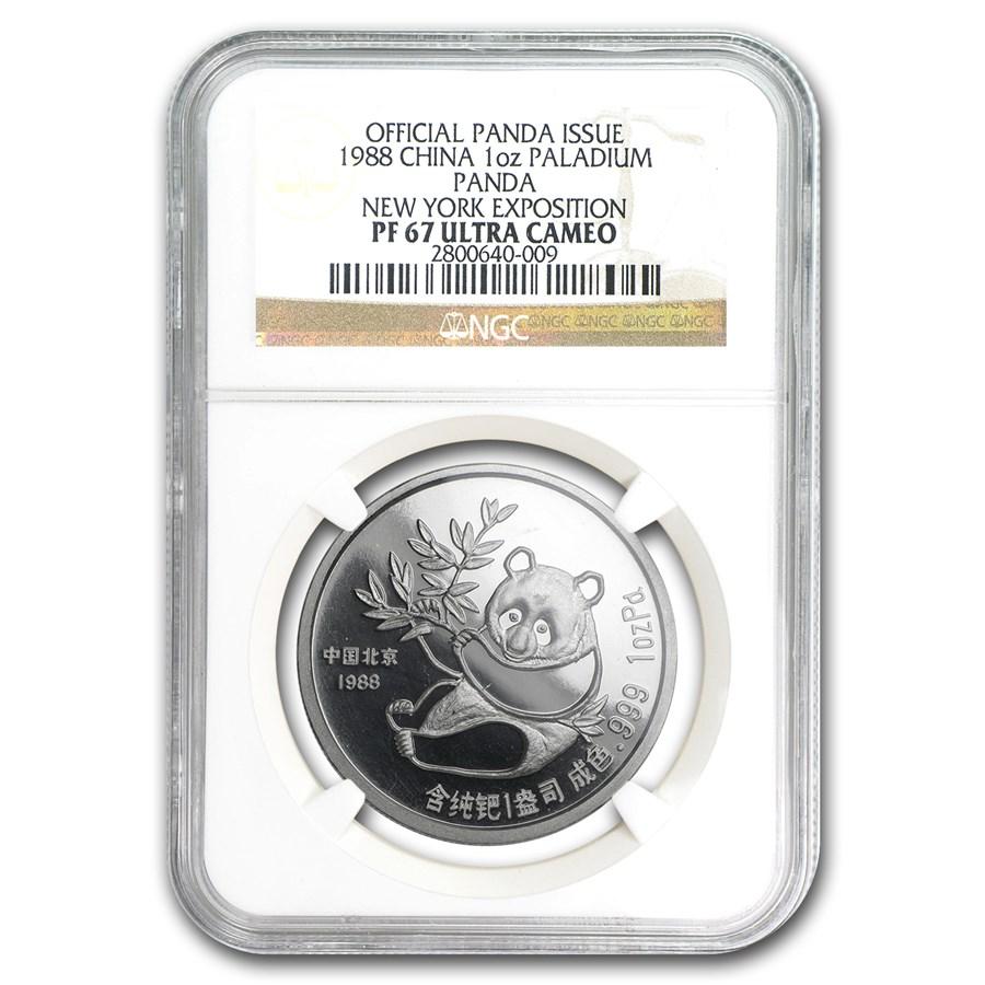 1988 China 1 oz Palladium Panda PF-67 NGC (New York Coin Expo)