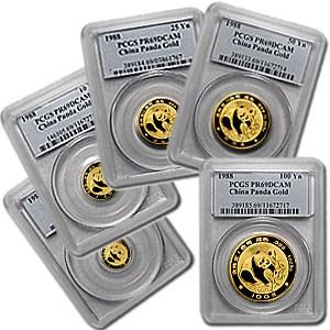 1988 China 5-Coin Gold Panda Proof Set PR-69 PCGS