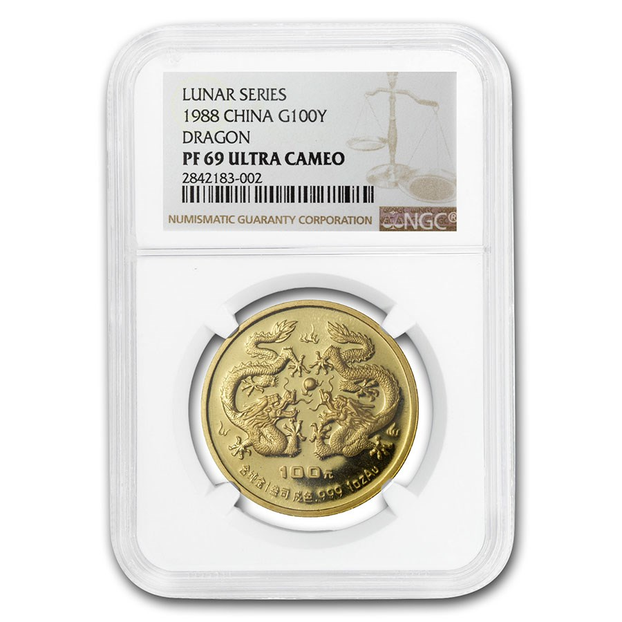 1988 China Proof Gold 100 Yuan Year of the Dragon PR-69 NGC