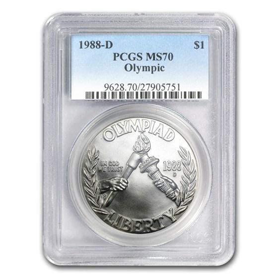 1988-D Olympic $1 Silver Commem MS-70 PCGS