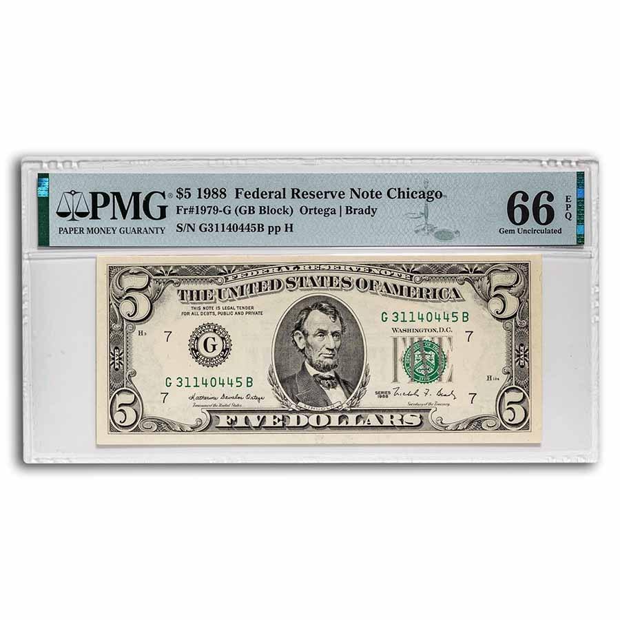 1988 (G-Chicago) $5.00 FRN Gem CU-66 EPQ PMG (Fr#1979-G)