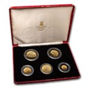 1988 Isle of Man 5-Coin Gold Angel Proof Set