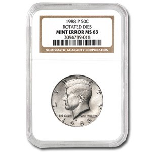 1988-P Kennedy Half Dollar MS-63 NGC (Rotated Rev)