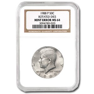 1988-P Kennedy Half Dollar MS-64 NGC (Rotated Rev)
