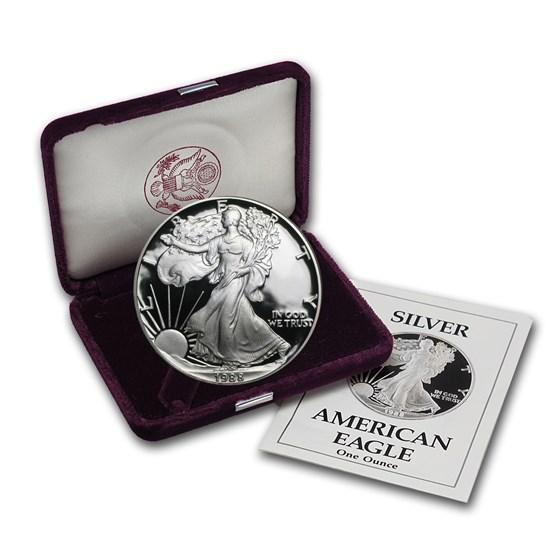 1988-S 1 oz Proof American Silver Eagle (w/Box & COA)